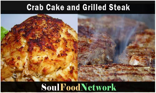 SoulFoodNetwork crab cakes and sizzlin steak